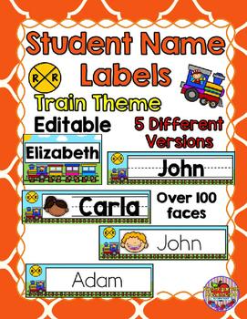 Editable Student Name Labels-Train Theme