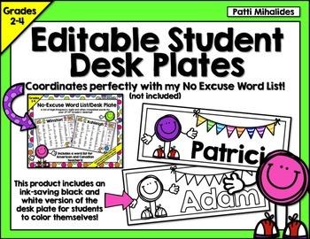 Editable Student Name Tags/Desk Plates