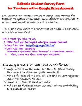 Editable Student Survey for Middle/ High School Teachers w