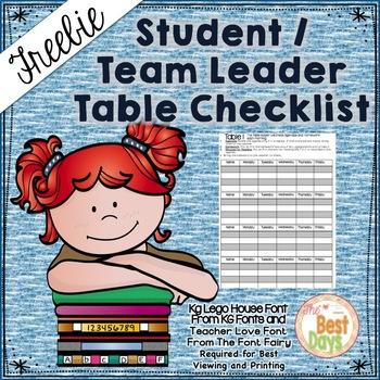 Editable Student / Table Leader Checklist Freebie