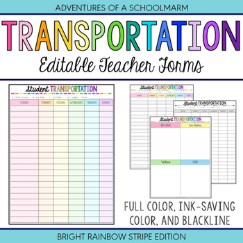 Editable Student Transportation Forms - Build a Planner