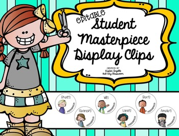 Personalized/Editable Student Work Display Tags for Clothes Pins