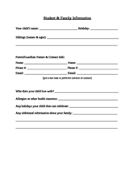 Editable Student and Family Information Forms (beginning o