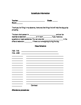 Editable Substitute Form