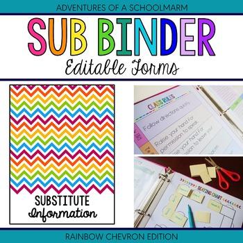 Editable Substitute Resource Binder - Rainbow Chevron (Inc