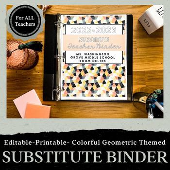 Editable Substitute Teacher Binder: Neon Aztec Theme
