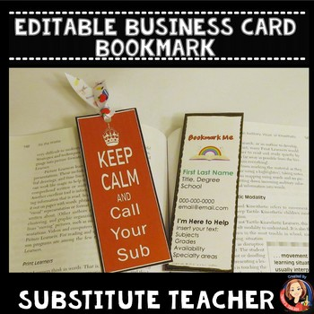 Editable Substitute Teacher Business Card Bookmark