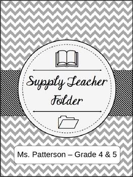 Editable Substitute Teacher Folder