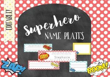 Editable Superhero Desk Name Plates - BONUS Locker Labels