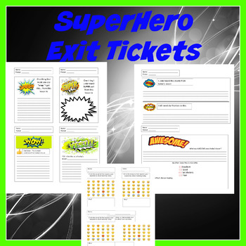 Editable Superhero Exit Tickets