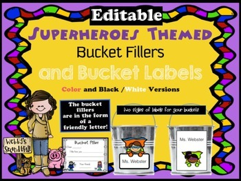 Editable Superheroes Bucket Fillers and Labels