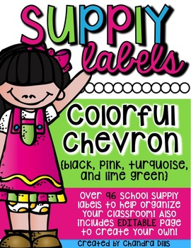 Editable Supply Labels {Colorful Chevron}