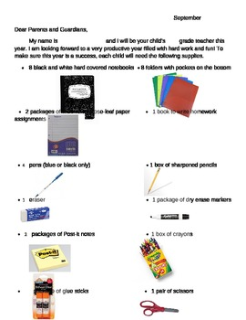 Editable Supply List with Pictures ESL /  ELL
