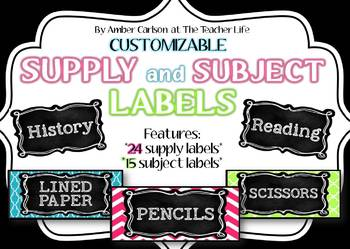 *Editable* Supply and Subject Labels {Brights and Black Co