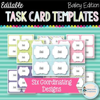 Editable Task Card Templates (Bailey Edition)