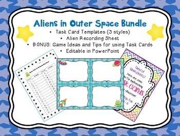Editable Task or Flash Cards- SPACE ALIENS Template Blank