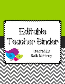 {Editable Teacher Binder} Bird Theme with Green Background