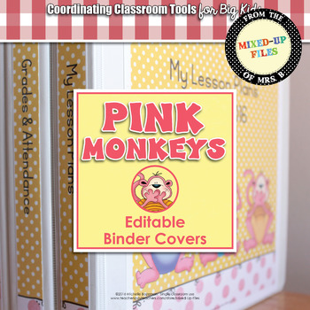 Pink Monkeys Editable Binder Covers