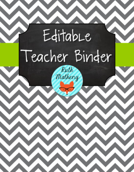 {Editable Teacher Binder} Gray Chevron Chalkboard with Lim