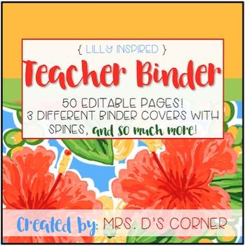 Editable Teacher Binder ( Lilly Inspired )