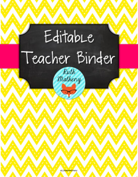 {Editable Teacher Binder} Stitched Yellow Chevron Chalkboa