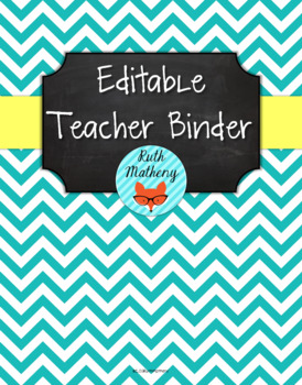 {Editable Teacher Binder} Turquoise Chevron Chalkboard wit