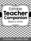 Teacher Binder (Editable- Black and White)