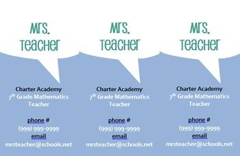 Editable Teacher Contact Card