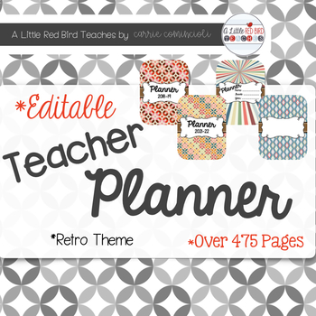 Editable Teacher Lesson Planner (Retro Theme)
