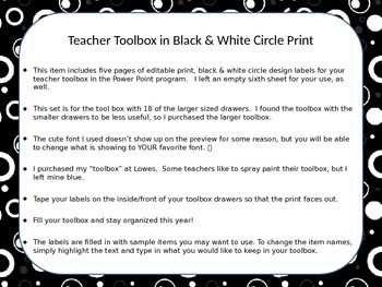 Editable Teacher Toolbox Labels-18 lg Drawer Unit w/ Blk &