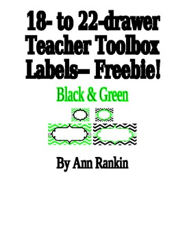 Editable Teacher Toolbox Labels in Black & Lime Green