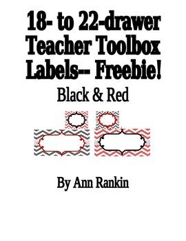 Editable Teacher Toolbox Labels in Black & Red