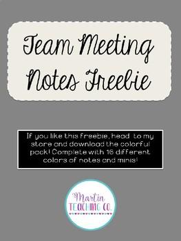 Editable Team Meeting Notes Freebie