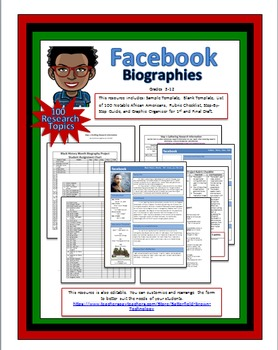 Black History Month Facebook Biographies (Editable Templat
