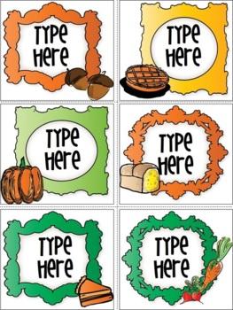 Editable Thanksgiving Labels