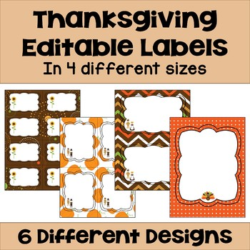 Editable Thanksgiving Labels (4 sizes & 6 designs)
