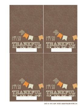 Editable Thanksgiving Treat Bag Toppers