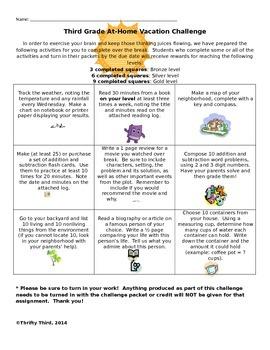 Editable Tic Tac Toe Homework/Vacation Board