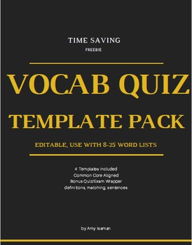 Editable Vocabulary Quiz Template