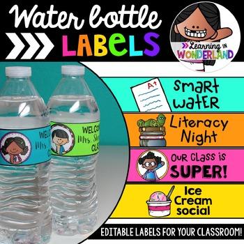 Editable Water Bottle Labels