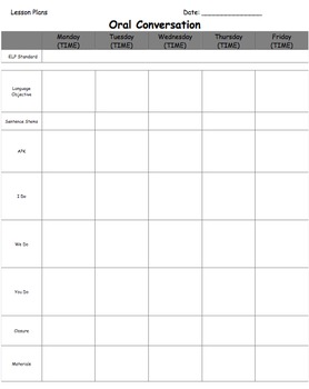 Editable Weekly ELL Lesson Plan Template - Easy to use word file