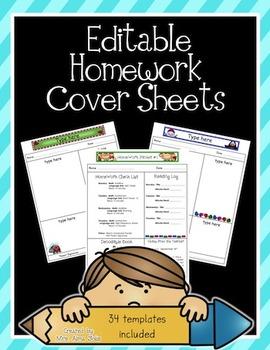 Editable Homework Covers