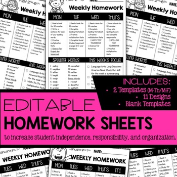Editable Weekly Homework Sheets