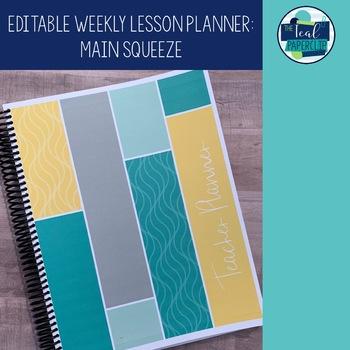 Editable Weekly Lesson Planner: Grey, Yellow, Aqua