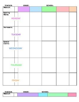 Editable Weekly Plan Book