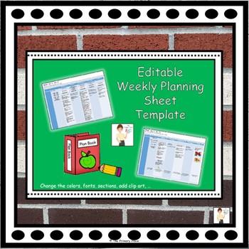 Editable Weekly Planning Sheet Template