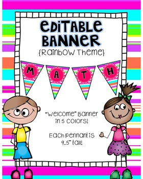 Editable Banner {Welcome Banner Included!}:  Neon Stripe Theme