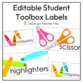 Editable White and Bright Student Toolbox Labels