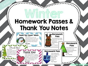 Editable Winter Themed Homework Passes and Thank You Notes
