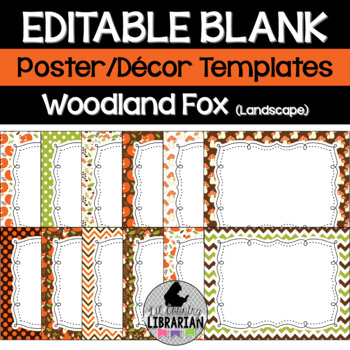 Editable Woodland Fox Posters PowerPoint Forest Animals {L